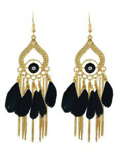 Vintage Feather Water Drop Earrings - Black
