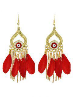 Vintage Feather Water Drop Earrings - Red