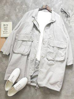 Stand Neck Drawstring Bomber Jacket - Light Gray