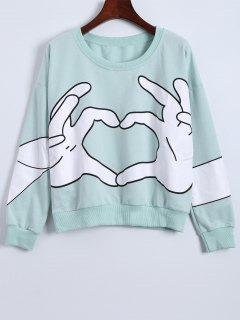 Gesture 3D Print Funny Sweatshirt - Light Green