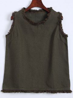 Raw Edge Design Tank Top - Army Green S