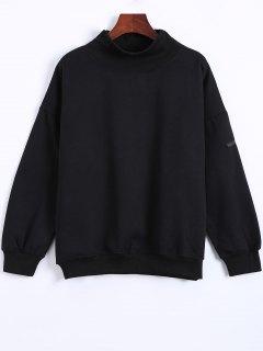 Patch Turtle Neck Sweatshirt - Black