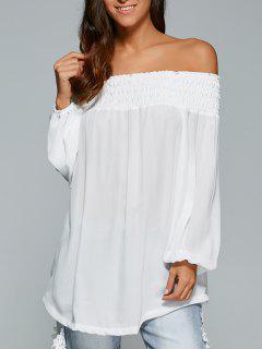 Loose Off The Shoulder Asymmetric Blouse - White Xl
