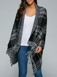 Checked Fringed Cape Overcoat - White And Black