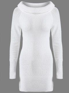 Off The Shoulder Slimming Sweater Dress - White