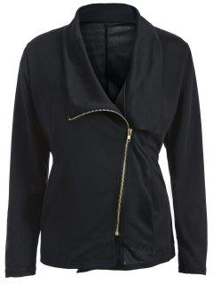 Folded Zippered Asymmetric Jacket - Black M