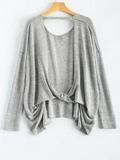 Back Cutout Long Sleeve T-Shirt - Gray S