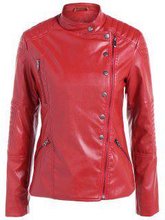 Warm Buttons Zippers PU Biker Jacket - Wine Red S