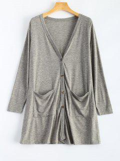 V Neck Buttoned Thin Cardigan - Gray S