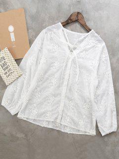 Camisa Bordada Floral - Blanco