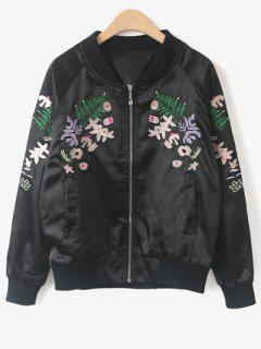 Stand Collar Floral Embroidered Jacket - Black