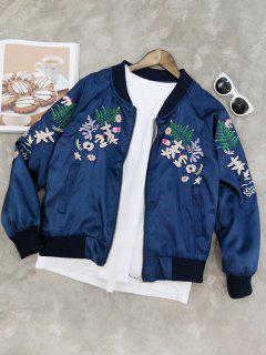 Stand Collar Floral Embroidered Jacket - Blue