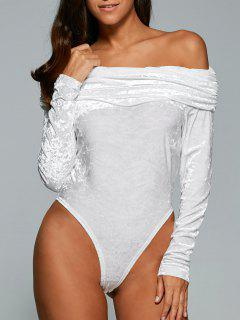Off The Shoulder Velvet Bodysuit - White M
