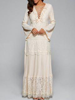 Bell Sleeve Lace Panel Maxi Dress - Apricot S