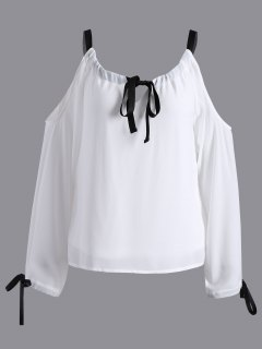 Cold Shoulder Blusa De La Gasa - Blanco M