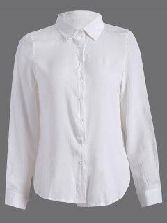 Chemise à Manches Longues Avec Fente à Côté - Blanc S