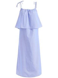Flounce Ruffles Cami Ample Robe - Bleu S