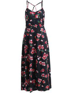 Cami Fitting Floral Print Dress - Black S
