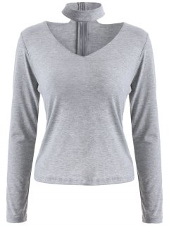 Long Sleeved Choker T-Shirt - Gray S