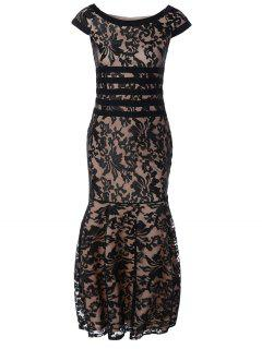 Maxi Lace Bodycon Dress - Black M