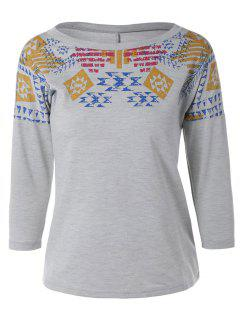 Loose Geometric Print Sweatshirt - Gray Xs