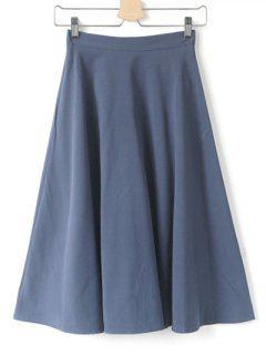 High Waist Midi Skirt - Grey Blue S