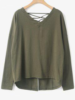 Strappy V Neck Back Slit T-Shirt - Army Green