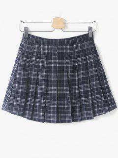 Pleated Tartan Mini Skirt - Purplish Blue S
