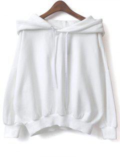 Sweat Polaire à Capuche Avec Cordon - Blanc