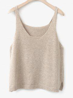Side Furcal Knitted Vest - Apricot