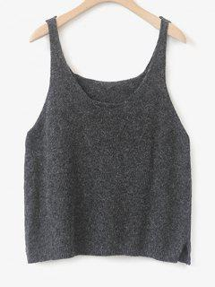 Side Furcal Knitted Vest - Deep Gray