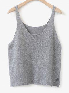 Side Furcal Knitted Vest - Light Gray