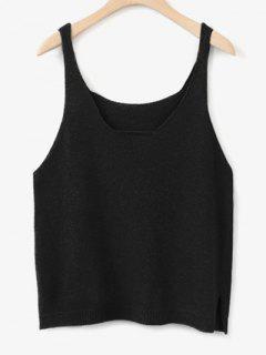 Side Furcal Knitted Vest - Black