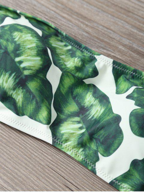 outfit Strapless Leaf Print Ruched Bikini Set - GREEN L Mobile