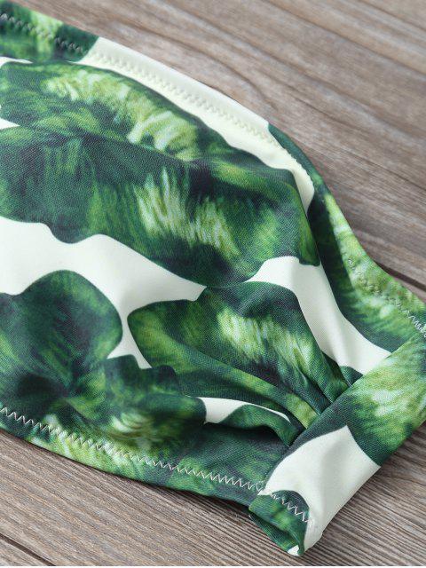 shop Strapless Leaf Print Ruched Bikini Set - GREEN S Mobile