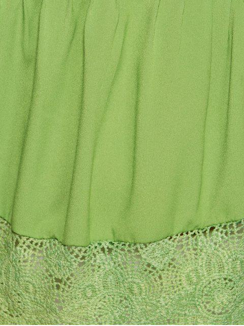 women's Scalloped Lace Splicing Blouse - GREEN M Mobile