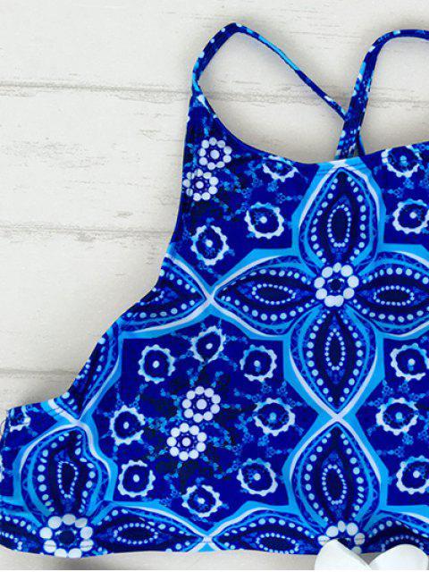 shops Criss Back High Neck Printed Bikini - BLUE XL Mobile