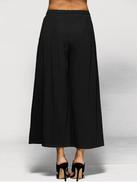 women Elastic Waist Culotte Pants - BLACK 4XL Mobile
