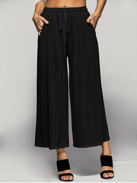 best Elastic Waist Culotte Pants - BLACK L Mobile