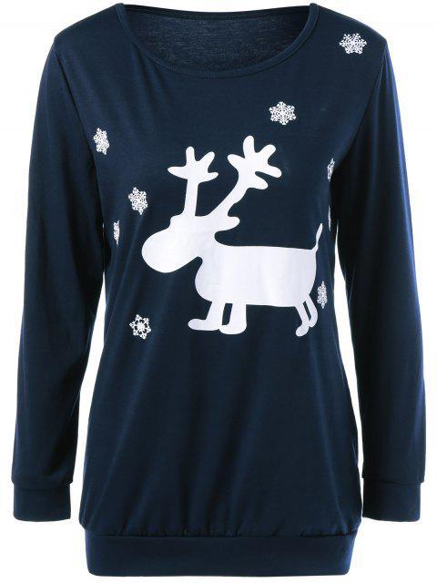 trendy Christmas Deer Print Snowflake Sweatshirt - PURPLISH BLUE M Mobile