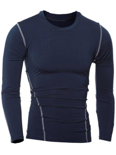 Slim-Fit Quick-Dry col rond T-shirt manches longues - Cadetblue XL Mobile