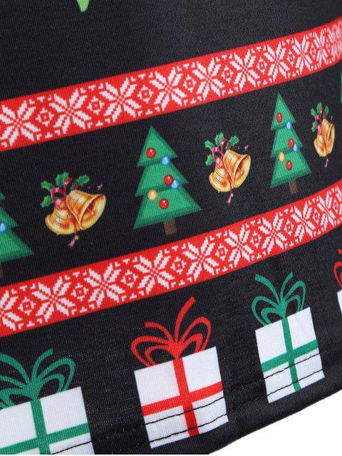 best Cute Long Sleeve 3D Santa Claus Print Christmas T-Shirt - BLACK L Mobile