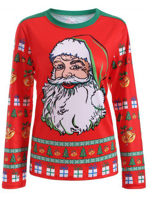 new Cute Long Sleeve 3D Santa Claus Print Christmas T-Shirt - RED XL Mobile