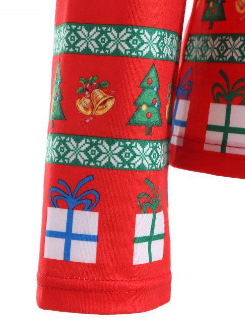 hot Cute Long Sleeve 3D Santa Claus Print Christmas T-Shirt - RED L Mobile