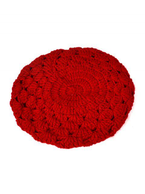 fancy Hollow Out Crochet Knit Beret - RED  Mobile