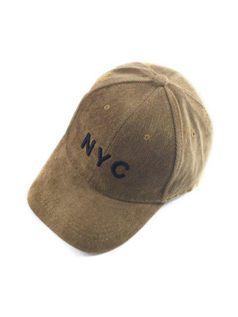 womens Autumn NYC Embroidery Corduroy Baseball Hat - LIGHT COFFEE  Mobile