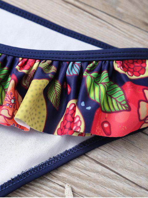 online Halter Neck Tropical Print Overlay Bikini - PURPLISH BLUE L Mobile