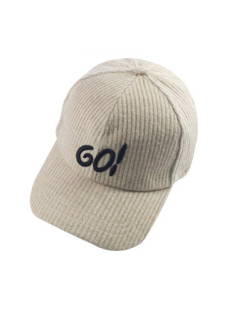 hot Autumn GO Embroidery Corduroy Baseball Hat - OFF-WHITE  Mobile