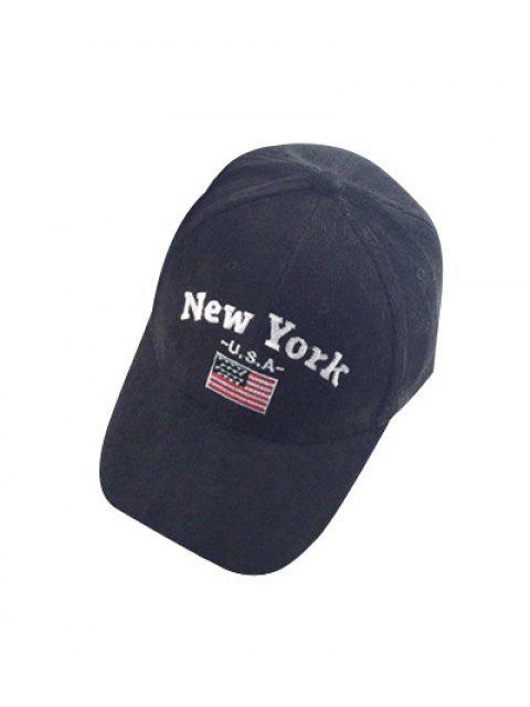 shop Autumn New York and USA Flag Embroidery Corduroy Baseball Hat - BLACK  Mobile