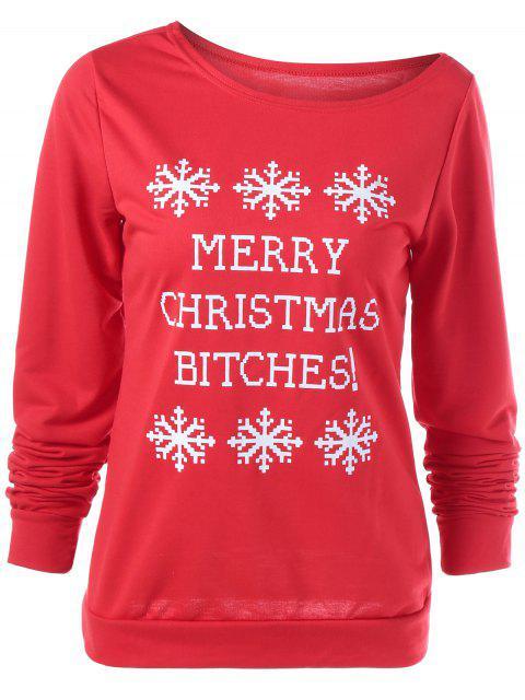 fashion Merry Christmas Snowflake Print Sweatshirt - RED L Mobile